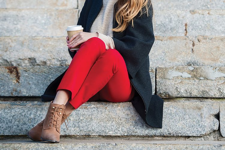 How to Wear: Red Trousers in Autumn