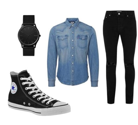 black jeans and converse